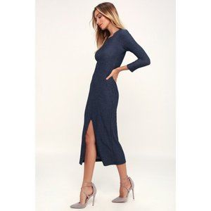 LULUS keen washed navy striped ribbed midi dress✨M